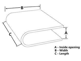 One edge trim drawing with three dimensions shown.