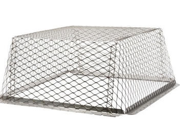 One stainless steel expanded metal roof vent guard, it is upside down with trapezoid shaped.
